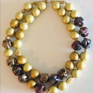 Gold Double Strand Necklace With Swarovski Accents